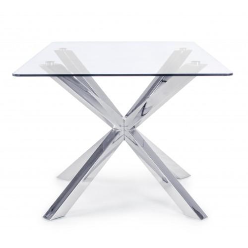 Bizzotto | Tavolo MAY RETT Gamba Acciaio 160X90 | Tavoli in Vetro e Gres