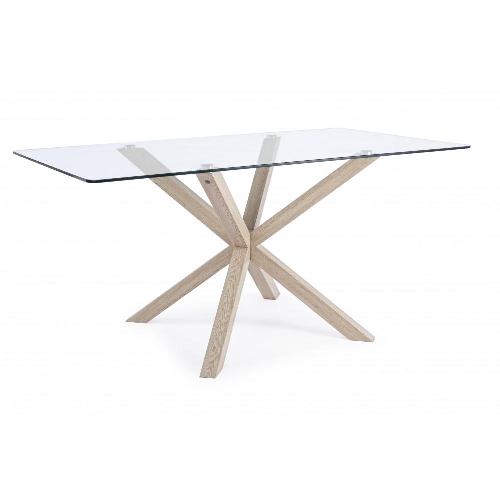 Bizzotto | Tavolo MAY Rettangolare Gamba NAT 160X90 | Tavoli in Vetro e Gres