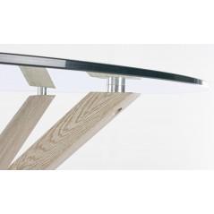 Bizzotto | Tavolo MAY Rotondo Gamba Naturale D114 | Tavoli in Vetro e Gres