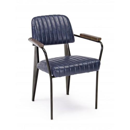 Bizzotto | Sedia Con Braccioli NELLY Blu Vintage | Sedie Moderne