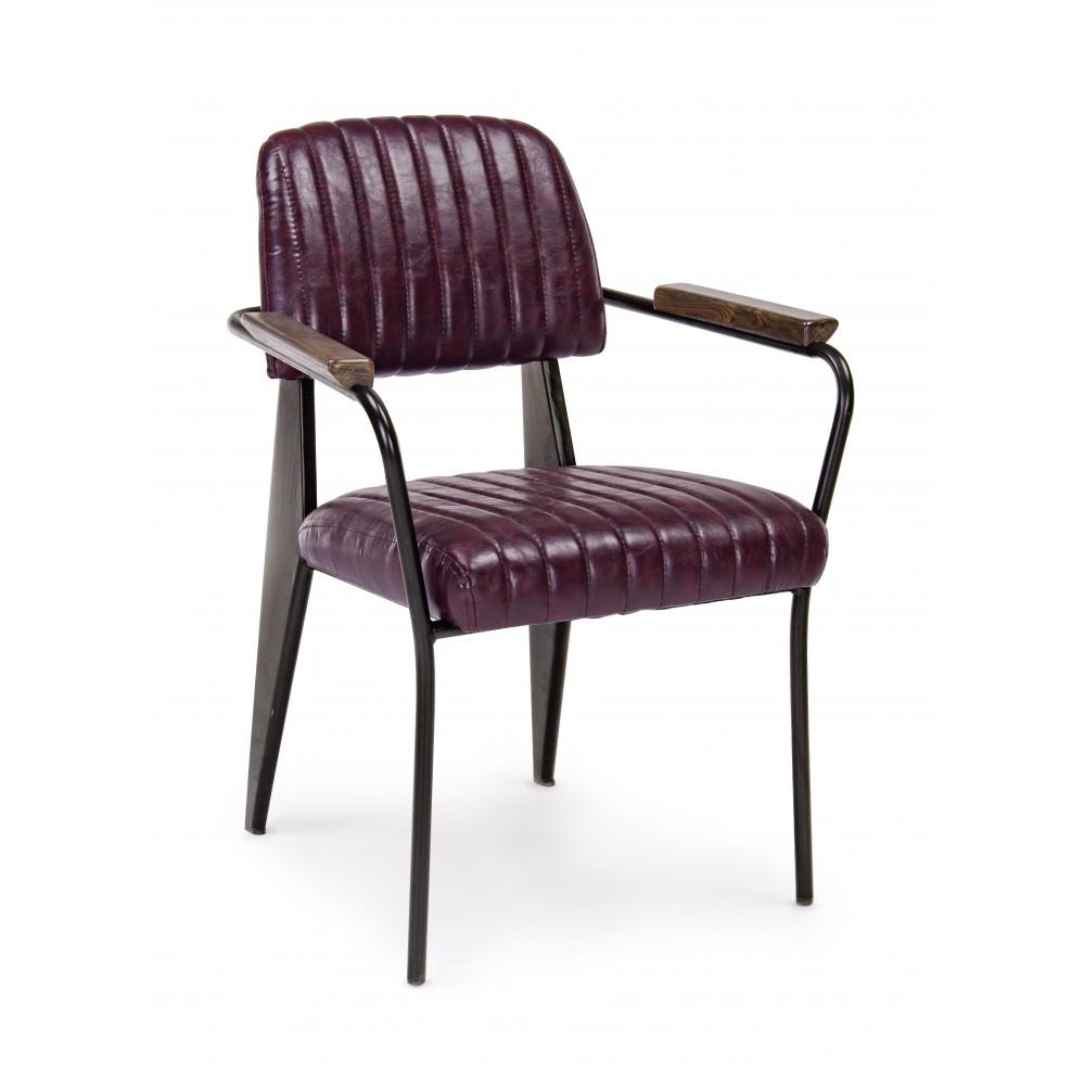 Bizzotto | Sedia Con Braccioli NELLY Bordeaux Vintage | Sedie Moderne