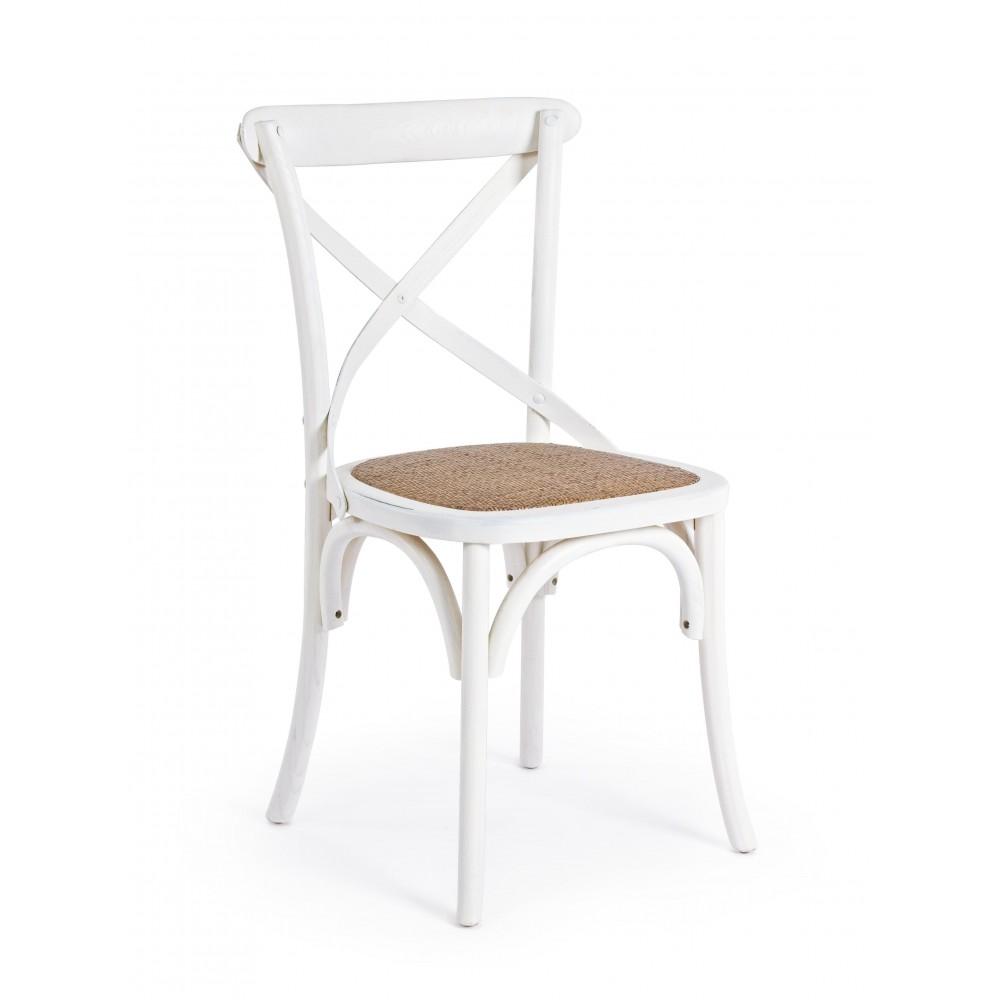 Bizzotto | Sedia CROSS Bianco | Sedie in Legno