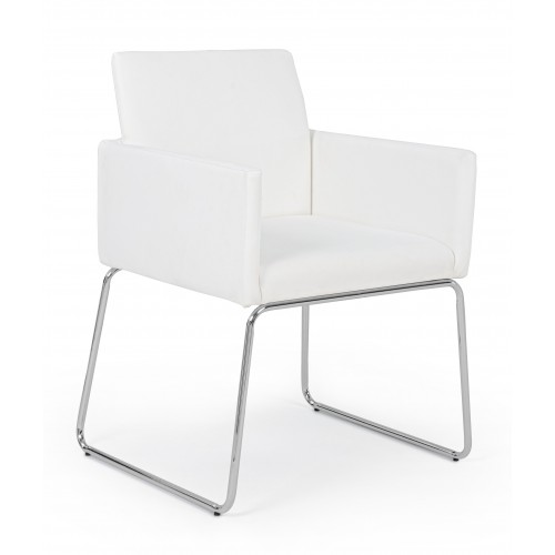 Bizzotto | Sedia con Braccioli SIXTY PU Bianco | Sedie Moderne