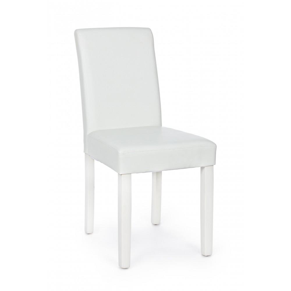Yes   Sedia CAROL PU Opaco Bianco Gamba in Tinta   Sedie Moderne
