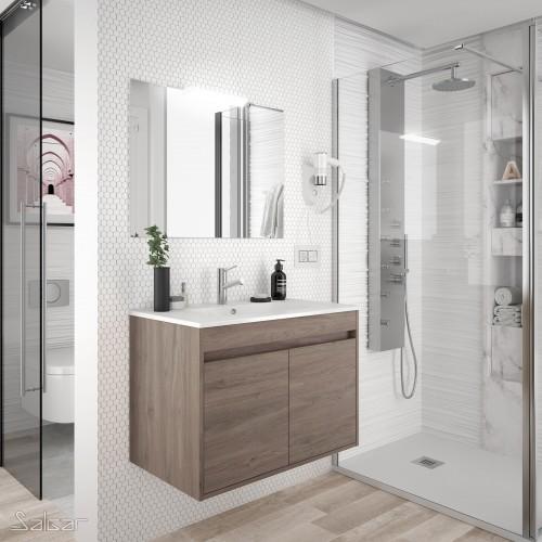 FISSORE.com | NOJA - COMPOSIZIONE BAGNO SOSPESA 2 ANTE | Composizioni mobili bagno sospese
