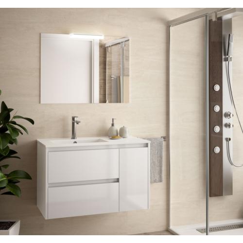 FISSORE.com | NOJA COMPOSIZIONE BAGNO 2 CASSETTI + ANTA A DESTRA | Composizioni mobili bagno sospese