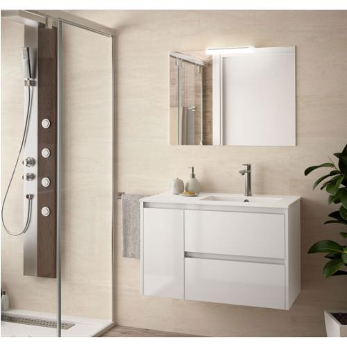 FISSORE.com | NOJA COMPOSIZIONE BAGNO 2 CASSETTI + ANTA A SINISTRA | Composizioni mobili bagno sospese