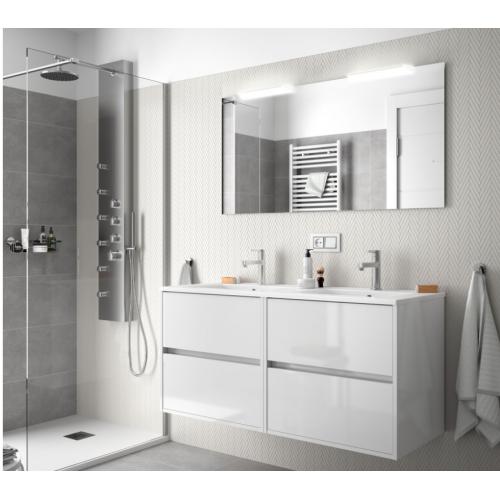 FISSORE.com | NOJA - COMPOSIZIONE BAGNO SOSPESA 4 CASSETTI DOPPIO LAVABO L 1205 | Composizioni mobili bagno sospese